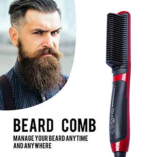 Peine alisador de barba eléctrico profesional para hombres – Cepillo 2 en 1 alisador y rizador para diferentes tipos de barba – tecnología de calefacción iónica antiquemaduras – color rojo