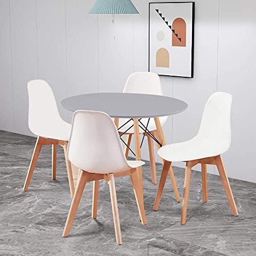 JLKDF Mesa de Comedor con 4 sillas Mesa de Cocina Redonda Sillas de PP con Patas de Madera de Haya para salón Comedor Sala de Estar Oficina (Gris y Blanco)