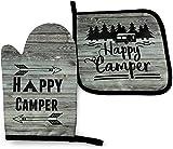 Happy Camper - Manoplas de horno y soportes para ollas, guantes de cocina antideslizantes, resistencia al calor avanzada, guantes de cocina para barbacoas