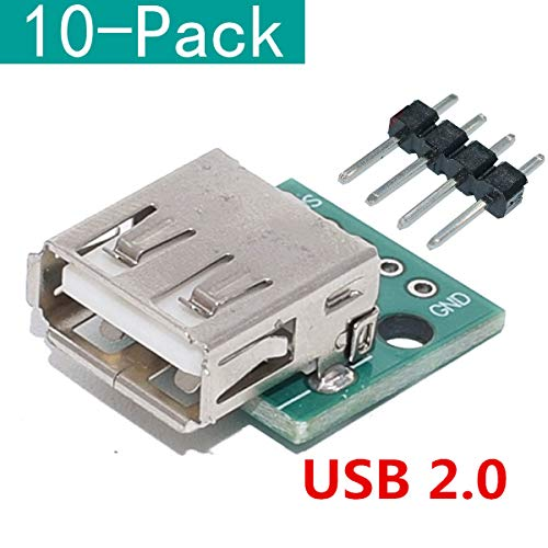 YOUMILE 10er Pack DIY Stecker/Mini Micro USB zu DIP Adapter 2.54mm 5pin Buchse B Typ USB2.0 Buchse PCB Converter USB 3.0