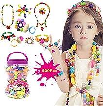 BigNoseDeer Niños Joyería Arte Pop Beads DIY Kit Pulsera Anillo de Collar Juguetes educativos 220pcs(Sin Cintas para el Pelo)