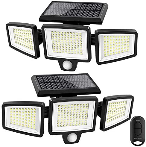 Solar Lights Outdoor ATUPEN 210 LED 1500LM Motion Sensor Lights with Remote Control 3 Heads product image