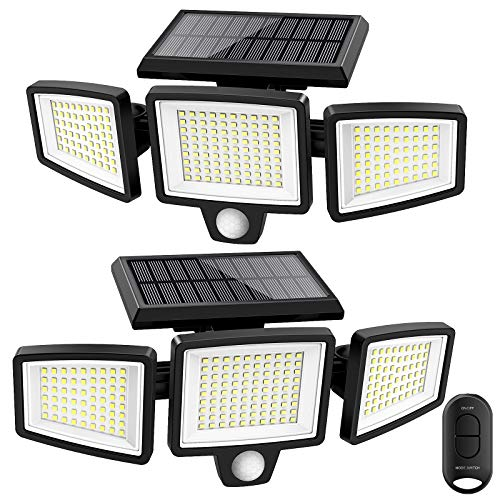 Solar Lights Outdoor,ATUPEN 210 LED 1500LM Motion Sensor Lights with Remote Control, 3 Heads Security LED Flood Light, IP65 Waterproof, 270° Wide Angle Illumination Wall Light with 3 Modes(2 Packs)