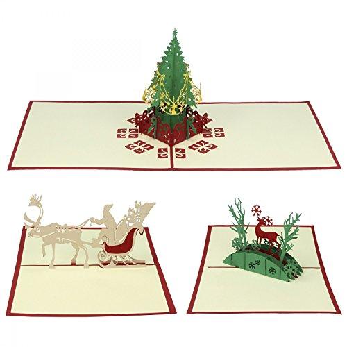 Eleganckie kartki bożonarodzeniowe w 3-częściowym zestawie od Urhome® I choinka Mikołaj I składana kartka 3D Pop-up I pracochłonne wykonanie ręczne - bardzo szlachetna I dekoracja bożonarodzeniowa - chrześcijańskie motywy I z kopertą