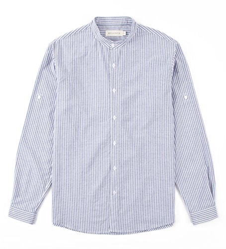 BYLUNTA Men Regular Fit Band Collar 100% Cotton Pinstripe Long Sleeve Daily Office Casual Business Shirt (X-Large,Navy)