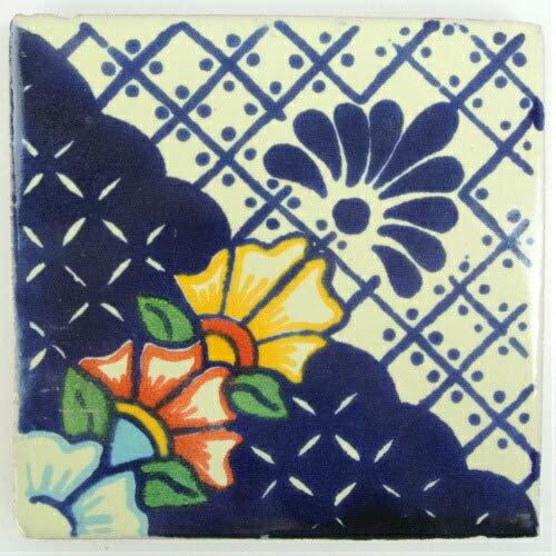 テラコッタ タイル メキシコ製 メキシカンタイル 10×10cm ラージ ブルー系 花