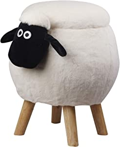 GIA Kids Ottoman with Storage, Foot Stand and Wooden Legs, Wooly White Sheep with Black Face