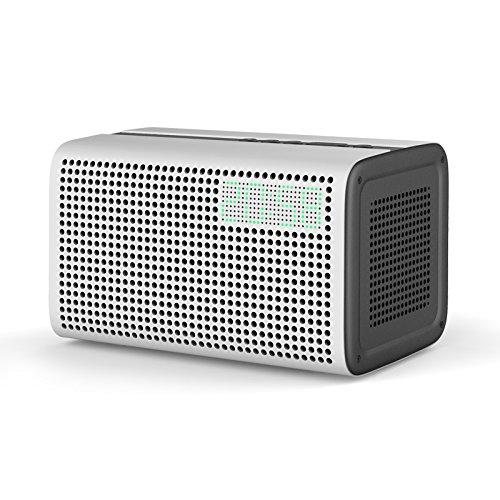 GGMM E3 Bluetooth WiFi Speaker Alexa Built-in Alexa Speaker, Multi Room Play Smart Speaker with LED Clock, Alarm Setting, USB Charging Port, Stereo Sound Airplay Speaker, White