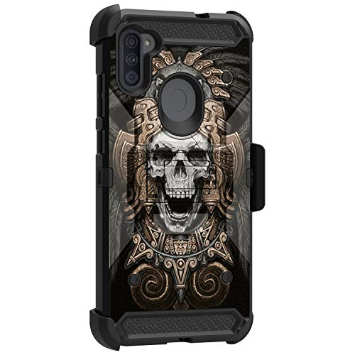 MINITURTLE Compatible with Samsung Galaxy A11 (2020) Protective Holster Belt Clip Rugged Triple Layer Case Cover [Max Guard] - Aztec Skull