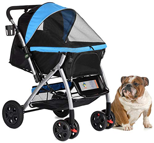 HPZ PET ROVER Premium Heavy Duty Dog/Cat/Pet Stroller Travel Carriage with convertible compartment/Zipperless Entry/Reversible Handle Bar/Weather Resistance for Small, Medium and Large Pets (Blue)