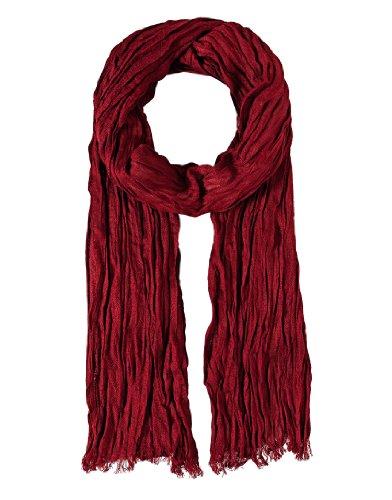 Vincenzo Boretti Herren Damen Schal modern elegant edel uni einfarbig Crinkle-Optik dünn leicht fein Herrenschal Hals-Tuch rot