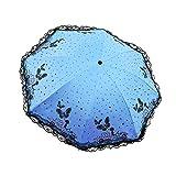 Steellwingsf Mädchen-Regenschirm mit Spitze und Schmetterlingen, 3-Fach faltbar, Winddicht blau