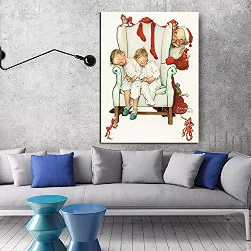 XuFan Decoración de Navidad pintura de Papá Noel lienzo pintura para el hogar sala de estar tienda decoración 40 x 60 cm sin marco