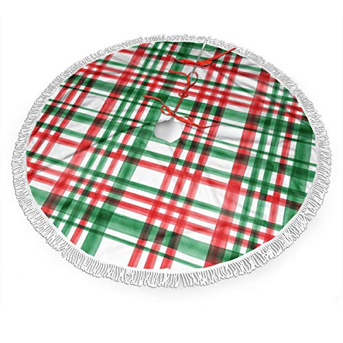 BWBFVPW 48' Christmas Tree Skirt with Fringed Edge Christmas Green and Red Watercolor Plaid Xmas Tree Skirt for Christmas Decoration