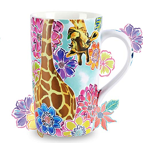 NymphFable Ceramic Coffee Mug 18oz Personalized Giraffe Flowers Coffee Cups with Handle Baking Pattern Tea Cup Large