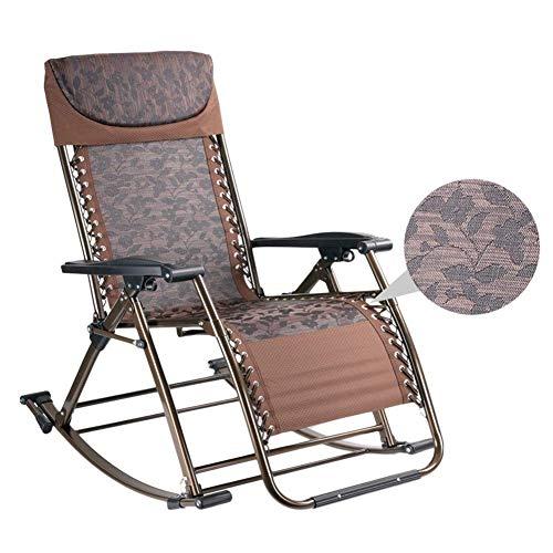 Fauteuil à bascule pliant pour patio en plein air à bascule pour adulte robuste, fauteuil inclinable portatif pour fauteuil de gravité zéro pour terrasse de jardin, support de 200 kg (couleur: noir),B