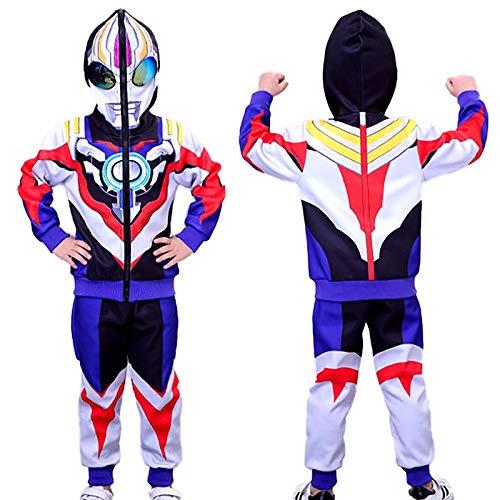 DTZW Chándal casual para niños con capucha de 2 piezas, conjunto de cosplay de dibujos animados de manga larga, traje deportivo de ropa de mono (tamaño: 140)