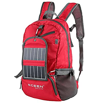 ECEEN Hiking Daypack Ultra Lightweight Packable + Portable Solar Power Battery Pack, Durable Light Camping Backpacks for Men and Women Outdoor Sports