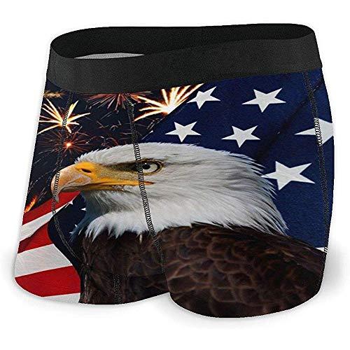 Millancty Eagle American Flag Boxershorts für Herren Stretch-Unterwäsche No Ride-up Boxer Underwear XXL