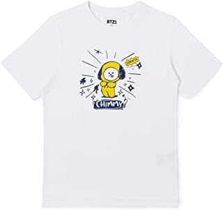 BT21 Official Merchandise CHIMMY Character Unisex Doodling Lettering Artwork Graphic T-Shirt, Extra Large, Black