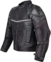 Pro Leather & Mesh Motorcycle Waterproof Jacket | CE Armor | Reflective Dualsport Biker All Season Jacket XL