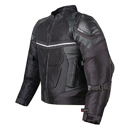 PRO LEATHER & MESH MOTORCYCLE WATERPROOF JACKET BLACK WITH EXTERNAL ARMOR M