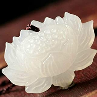 Peacock and flower Chinese carved crystal pendant