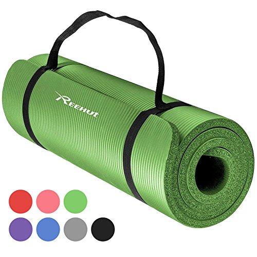 REEHUT Colchoneta de Yoga de NBR de Alta Densidad y Extra Gruesa de 12mm Diseñada para Pilates, Fitness y Entrenamiento - con Correa de Hombro 180cm x 61cm