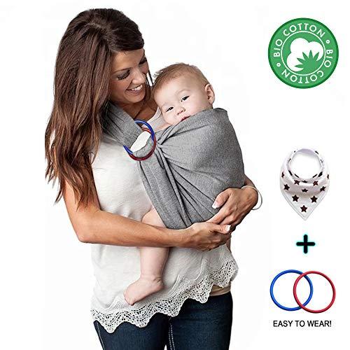 Fascia Porta Bambino Kdikuore Fascia Porta Bebé Marsupio Tracolla Neonato Cotone Ecologico Traspirante Elastica Con Anelli Baby Wrap Sling