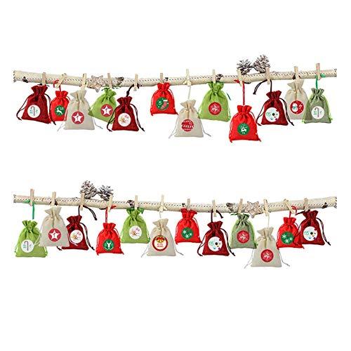 Fgolphd Bolsa Lino Candy Bag Creativo 1-24 Calendario de Adviento Haz Boca Lino Regalo Algodón Embalaje Regalos de la Bolsa de Dulces niños (Color : Deep Sapphire)