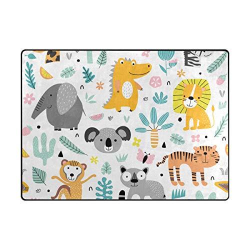 Orediy Grand tapis en mousse souple et léger Animaux de la jungle et plantes Tapis de jeu pour Tapis de yoga pour chambre d'enfant le salon et la chambre à coucher, 160 x 122 CM