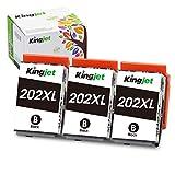 Kingjet 202XL Cartuchos de Impresora compatibles para Epson 202 XL Compatible con Epson Expression Premium XP-6100 XP-6105 XP-6000 XP-6005 (3 Negros)