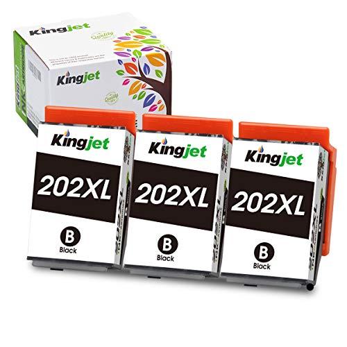 Kingjet 202XL - Cartucce di ricambio compatibili per Epson 202 XL, compatibili con Epson Expression Premium XP-6100 XP-6105 XP-6000 XP-6005 (3 nero)