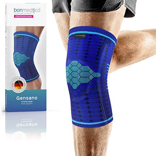 bonmedico Professional Gensano Kniebandage für Damen & Herren, Sportbandage mit Silikon-Patellaring, stabilisiert bei Knie Schmerzen, rutschfest & atmungsaktiv für links & rechts XL, blau + E-book