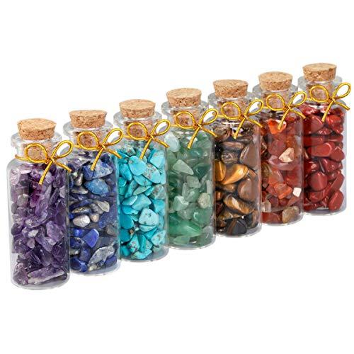 SUNYIK 7 Chakra Stone Wishing Bottles Set of 7, Tumble Chip Crystal Healing Reiki Wicca Stones Kit