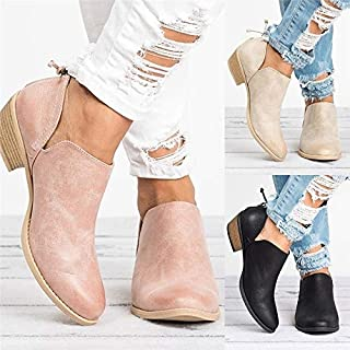 DENG&XUE Women Retro Style Solid Leather Ankle Boots Cut-Out Low Chunky Heel Round Toe Casual Boots (Pink,35)