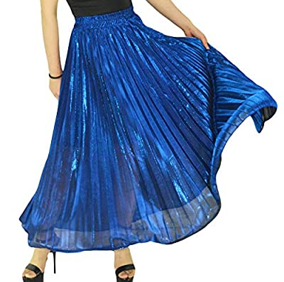 YSJERA Women's Pleated Maxi Skirt A-Line Floor Length Party Adult Tutu Swing Skirts