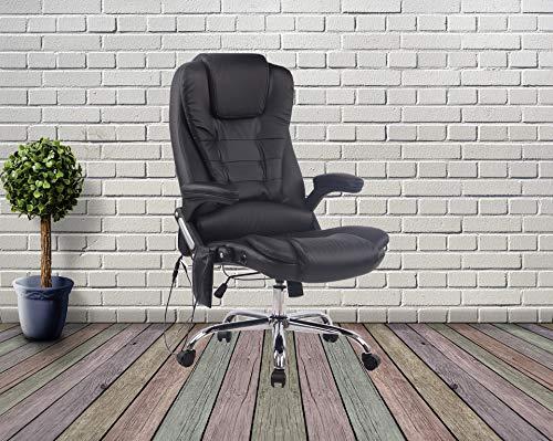 Easyshopuk Bürostuhl / Schreibtischstuhl mit hoher Rückenlehne, aus Leder, mit Massage- und Wärmefunktion, Braun (schwarz)