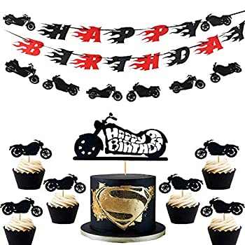 LaVenty Set of 9 Motorcycle Birthday Banner Motorcycle Birthday Decoration Scooter Cake Toppers Harley Birthday Decoration for Man's or Boy's Birthday