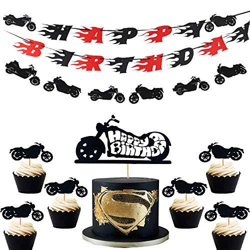 9er-Set Motorrad-Geburtstagsbanner Motorrad-Geburtstagsdekoration Scooter Cake Toppers Harley-Geburtstagsdekoration zum Geburtstag von Männern oder Jungen