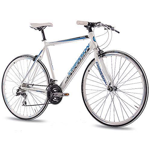 CHRISSON 28 Zoll Rennrad Fitnessrad AIRWICK Weiss blau 56 cm mit 24 Gang Shimano Acera Schaltung, Urban Fahrrad für Damen und Herren, Road Bike
