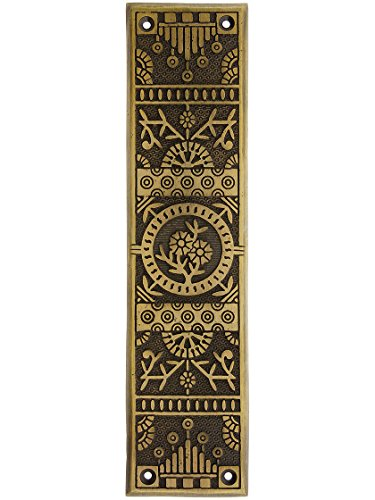 Cast Iron Windsor Pattern Push Plate in Antique Brass Finish.