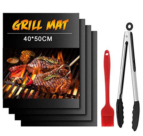 Dailyart Grillmatte 50x40cm 100% Antihaft BBQ Grillmatten 4er Set mit 13