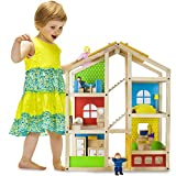 Full Townhome Dollhouse Set - Premium Wooden Doll Home with 16 Pieces of Furniture and 4 Loving Family Member Dolls - Great for Pretend and Imaginative Play