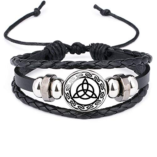 Trinity Celtic Knot Work Charm Leather Cords Braided Bracelet Triquetra Handmade Viking Runes Ethinic Adjustable Bracelet Unisex (trinity)