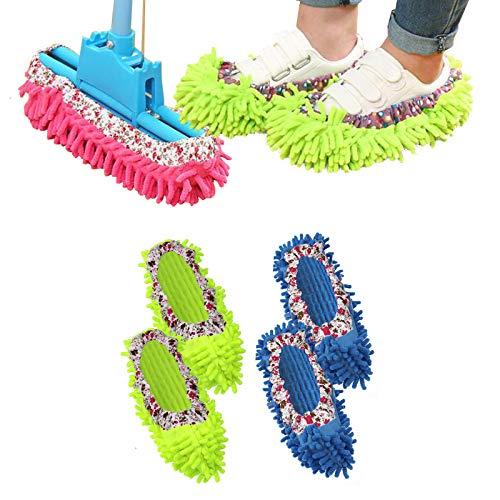 Wiskaqi モップ スリッパ 室内 掃除 洗える 使い捨て リッパ 超 吸水 スポンジ 床 まとめ買い対象商品 マイクロファイバー ホコリ取り 靴カバー フローリング 激落ち フローリングワイパー セット かわいい キッチン シューズ (2足4個)
