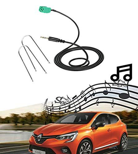 AUX Kabel Adapter Audio Musik Interface 3,5 mm Klinke AUX-IN MP3 Eingang für Renault Clio Megane Laguna AC285 mit Werkzeug zum Entfernen von Blitzgeräten