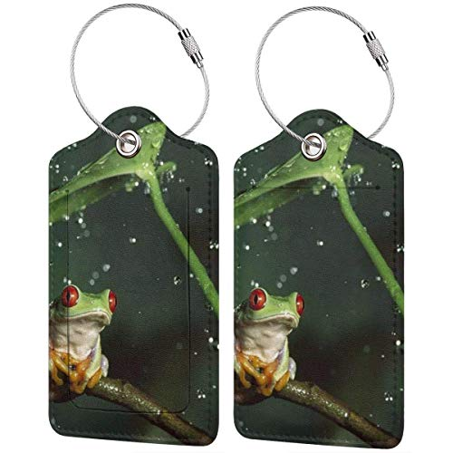Leather Travel Luggage Tags,Peace Tree Frog Printed Travel Id Labels,Business Card Holder,Suitcase Labels,Travel Accessories,with Privacy Cover Stainless Steel Ring