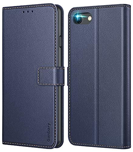 Ganbary Funda Compatible con iPhone SE 2020/ iPhone 7/ iPhone 8, Funda Movil Carcasa PU Cuero con Ranura para Tarjeta, Cierre Magnético, Función de Soporte para iPhone SE 2020, Azul Oscuro