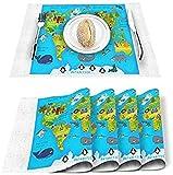 Table Mate Set di 4, Mappa del mondo degli animali Tovagliette in poliestere resistenti alle macchie Tovagliette lavabili Decorazione per cucina Tavolo da pranzo Cartone animato